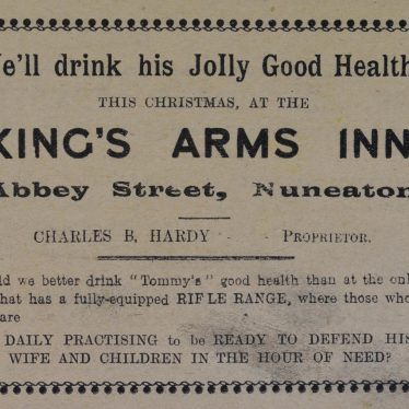 'We'll Drink to His Jolly Good Health'. Nuneaton Chronicle Christmas supplement, 18th December 1914. | Nuneaton Chronicle Christmas supplement, 18th December 1914. Image courtesy of the Warwickshire County Record Office