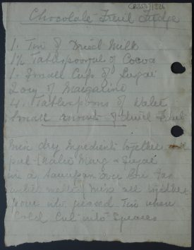 Recipe for Chocolate Fruit Fudge, 20th century | Warwickshire County Record Office reference CR3547/326