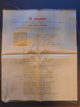 The poem printed on silk, commemorating the opening of the Prince of Wales theatre in Nuneaton, 1900. | Warwickshire County Record Office, document reference CR2884