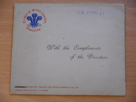 The envelope containing the poem. 'With the Compliments of the Directors'.  | Warwickshire County Record Office, document reference CR2884.
