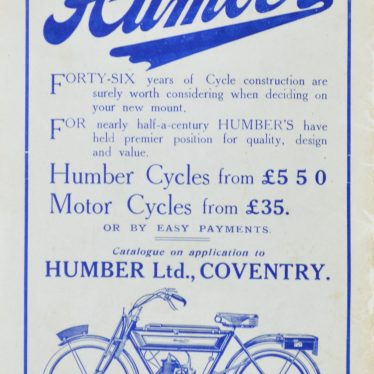 An advert for Humber Cycles on the back page of the 1913-1914 Coventry City Official Handbook. | Image courtesy of Simon Young