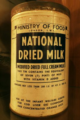 Ministry of food, dried milk tin. | Originally uploaded to Wikimedia Commons by Oxfordian Kissuth