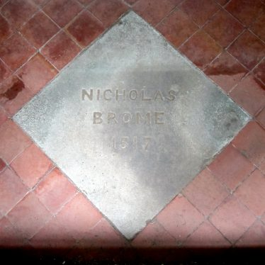 Stone set in red tiled floor with 'Nicholas Brome 1517' carved on it | Image courtesy of Anne Langley