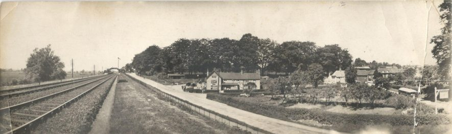 A panoramic view of the Royal Oak pub, and Brandon and Wolston station.   Image courtesy of Graham Tyler