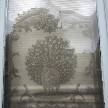 Window with peacock spreading his tail and other decoration | Anne Langley
