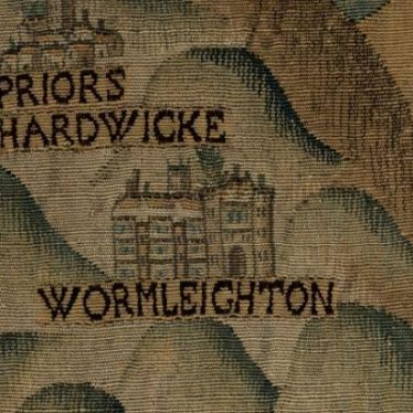 Image from Sheldon Tapestry Map of Warwickshire showing Wormleighton manor house. | Image courtesy of Warwickshire Museum