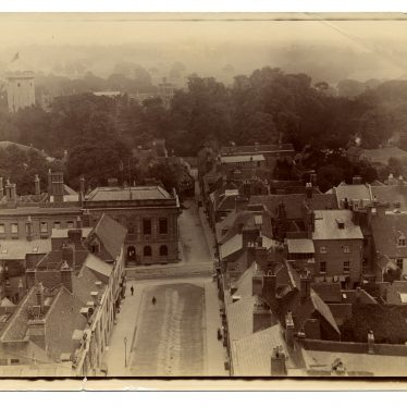 Warwick Castle, Church Street, Court House and Castle Street (including Thomas Oken's House), c. 1895. | Image by Dr Hubert Tibbits. Warwickshire County Record Office reference PH1298/1/5