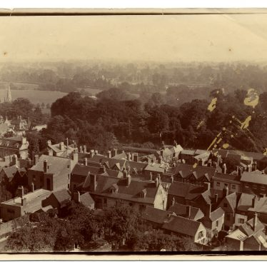 St Nicholas, views over St Nicholas Meadow [now Park] and Jury Street [including house of Dr Tibbits] with Myton Road and King's School in distance, c. 1895. | Image by Dr Hubert Tibbits. Warwickshire County Record Office reference PH1298/1/4