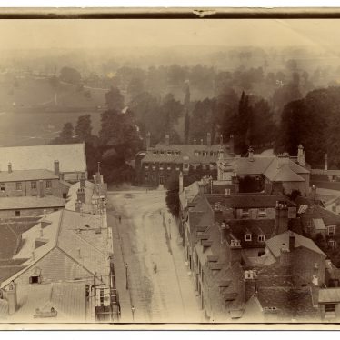 Northgate Street, Northgate House and Priory Park (including Lodge) with Cape Road and Warwick prison in background, c.1895. | Image by Dr Hubert Tibbits. Warwickshire County Record Office reference PH1298/1/2