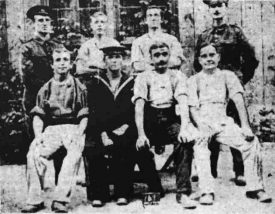 Walter Kimberley, former Coventry City footballer, here seen far left of a photo in the Birmingham Gazette, September 15th 1915. | Birmingham Gazette, September 15th 1915.