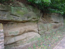 Old face in Triassic sandstone at Blackdown, north-east of Warwick. | Image courtesy of Jon Radley.