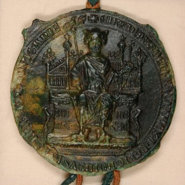 Edward I 'in Majesty' with sceptre and orb. Edward II's Great Seal was identical to his father's. | Warwickshire County Record Office reference CR341/2