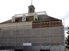The Market Hall, covered in scaffolding. | Image courtesy of Andy Isham