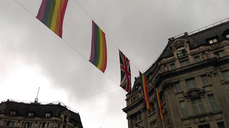 Pride flags flying over Oxford Street on the weekend of the LGBTQ+ ALMS conference. | Image courtesy of Becky Hemsley