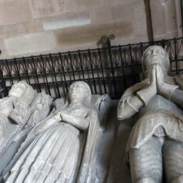 Three prone statues: two women and one knight in armour | Image courtesy of Anne Langley