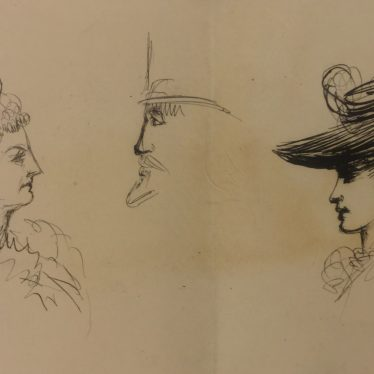 Sketches of concert goers by Anne Charteris, 4th Countess of Warwick, c.1895 | Warwickshire County Record Office reference CR1886 - Box 468 (loose)
