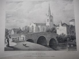 An engraving published in 1826 of All Saints from northwest of the river bridge . | Warwickshire County Record Office, reference PV Lea All 6