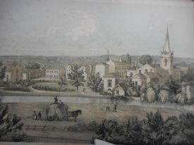 The Priory and its grounds on the southern bank of the river around 1840. | Warwickshire County Record Office, reference PV Lea Gen 5