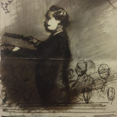 Drawing of Eduard Strauss by Anne Charteris, 4th Countess of Warwick, c. 1895 | Warwickshire County Record Office reference CR1886 Box 468 (loose)