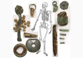 The grave goods found with the 'Cunning Woman', excavated at Bidford-on-Avon. | Image courtesy of Warwickshire Museum