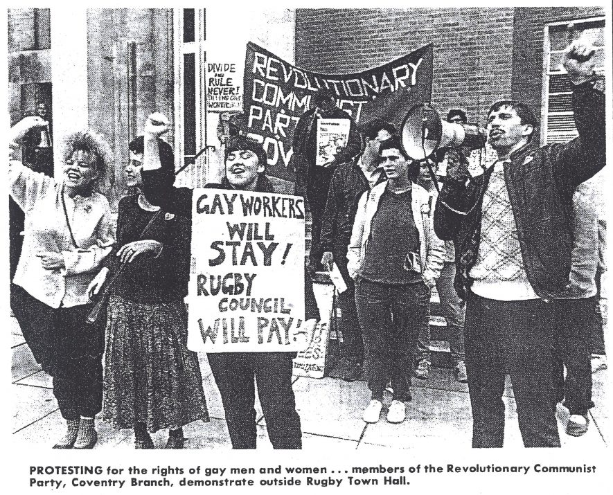 'Protesting for the rights of gay men and women' outside Rugby Town Hall | Photograph courtesy of the Rugby Advertiser