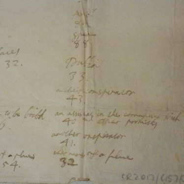 A contemporary attempt to decipher a numerical code without the key. Some of the numbers seem to refer to 'conspirators', and 'a man to be bribed'. | Warwickshire County Record Office reference CR2017/C157/3