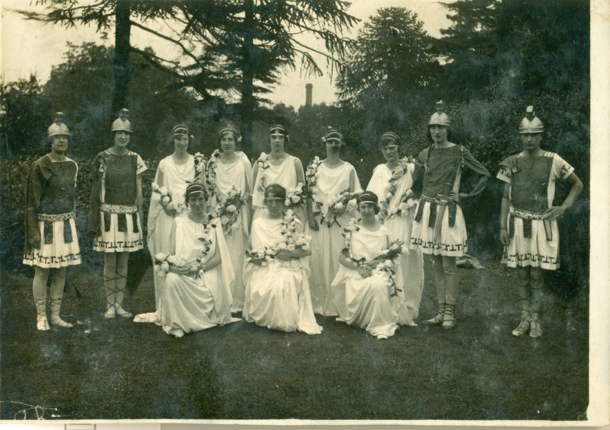 Possibly the Torchbearer's Pageant, 13th July 1927 in the grounds of the Home for Incurables, (Midland Counties Home), Tachbrook Road in Leamington. Photo features Kathleen Mary Bugg nee Lloyd, who lived in Eagle Street, Leamington. 1927. | Image courtesy of Kay Bugg