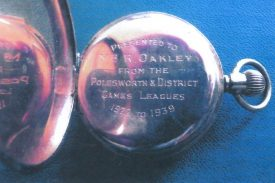 A gold pocket watch. This was presented by the Polesworth and District Games League, to the first steward of Birchmoor Working Mens Club, Robert Oakley, around 1922-1939. | Image courtesy of Iris Painter
