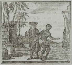 A woodcarving of Yamba and the missionary, which illustrated the tract 'The Sorrows of Yamba', in the 1790s. | 'The Sorrows of Yamba', The Cheap Repository, digitised by McGill University Library