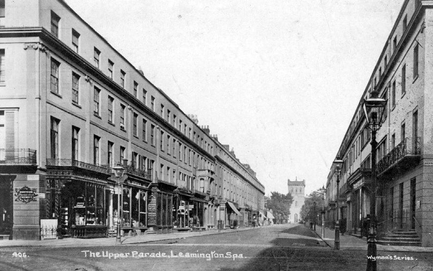 View of the Upper Parade, Leamington Spa,  looking towards Christchurch (now demolished).  1930s |  IMAGE LOCATION: (Warwickshire County Record Office)