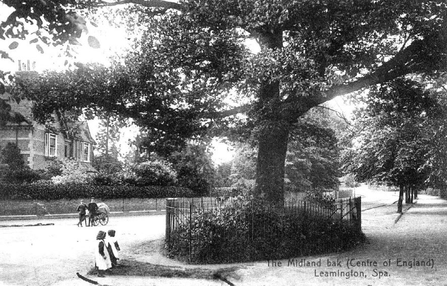 The Midland Oak, said to be the centre of England, Leamington Spa.  Two lads with a hand-cart are standing watching.  1920s |  IMAGE LOCATION: (Warwickshire County Record Office)