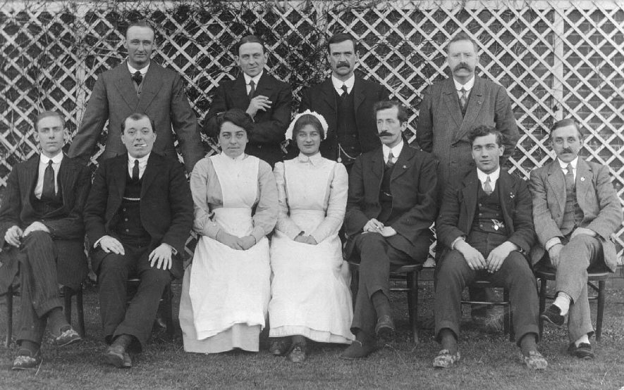 Staff at Stoneythorpe, group photograph includes Miss V. Bayley.  c.1910 |  IMAGE LOCATION: (Warwickshire County Record Office) IMAGE DATE: (c.1915) PEOPLE IN PHOTO: Bayley, Miss V, Bayley as a surname