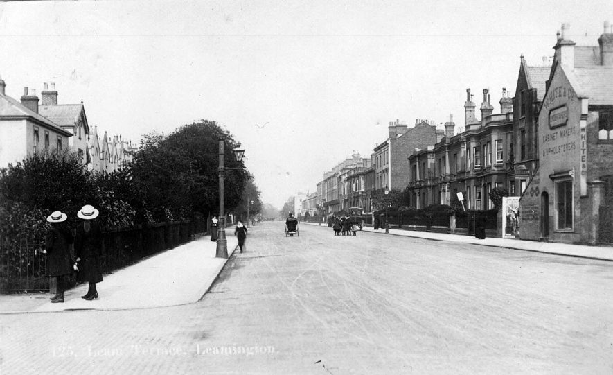 Leam Terrace, Leamington. White and Co. Upholstery and Cabinet Making. 1900s |  IMAGE LOCATION: (Warwickshire County Record Office)