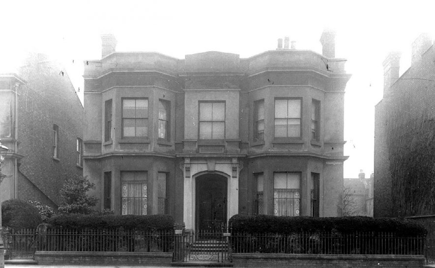 The front of 8, Leam Terrace, Leamington Spa. Residence of Dr Ellerton.  1900s |  IMAGE LOCATION: (Warwickshire County Record Office)