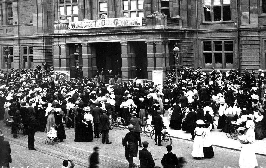 Leamington Spa Town Hall entrance with crowd outside on the occasion of the visit of General Bramwell Booth of the Salvation Army.  1900s |  IMAGE LOCATION: (Warwickshire County Record Office) PEOPLE IN PHOTO: Booth, Bramwell, Booth as a surname
