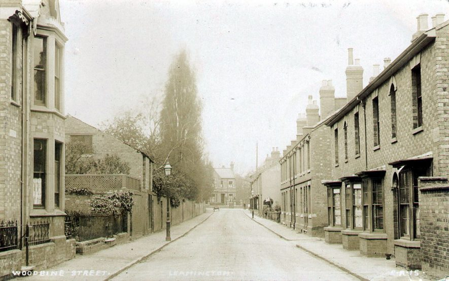 Woodbine Street, Leamington Spa showing rows of terraced houses.  1900s |  IMAGE LOCATION: (Warwickshire County Record Office)