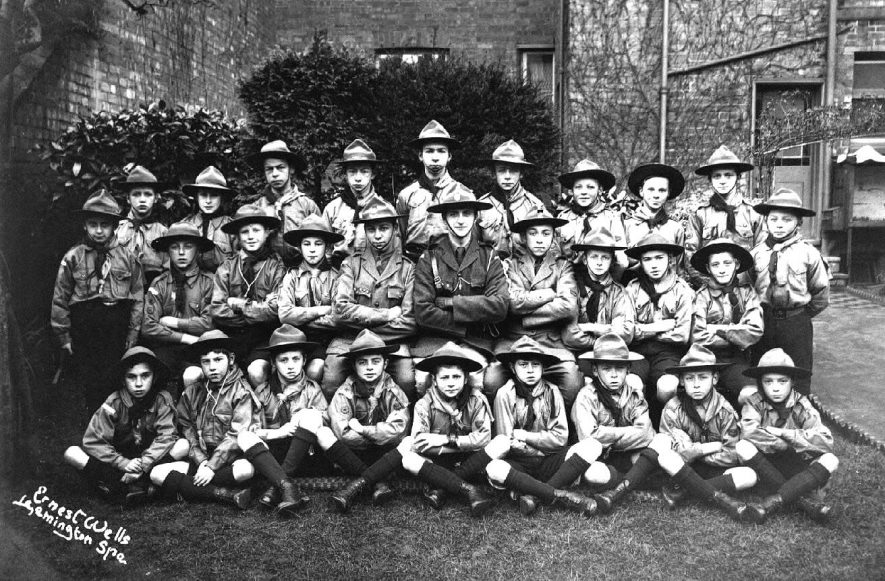 Unidentified scout troop, Leamington Spa.  1910s    IMAGE LOCATION: (Warwickshire County Record Office)