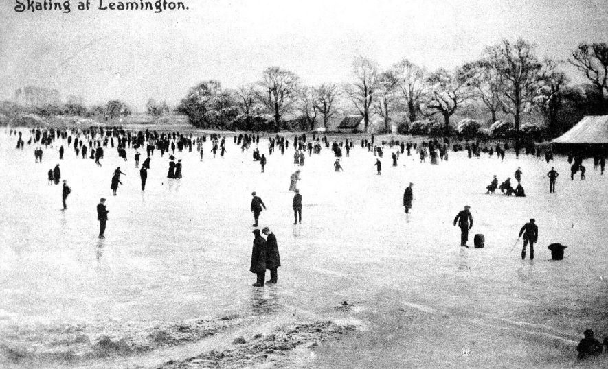 People skating on frozen floods at Welch's Meadow, Willes Road, Leamington Spa.  1900s |  IMAGE LOCATION: (Warwickshire County Record Office)