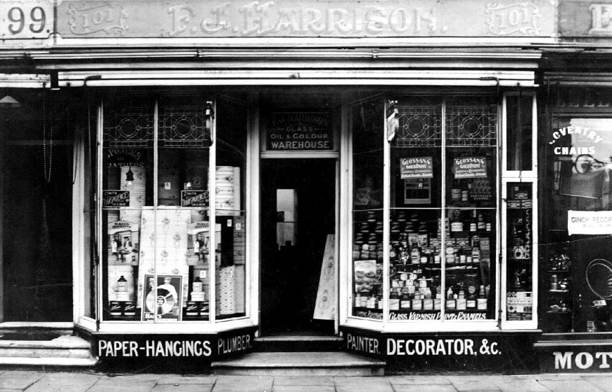 F.J. Harrison's painter and decorators shop, 101 Warwick Street.  1910s |  IMAGE LOCATION: (Warwickshire County Record Office)