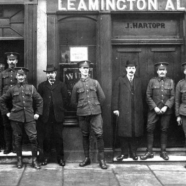 Leamington Spa.  Soldiers standing outside the Railway Inn
