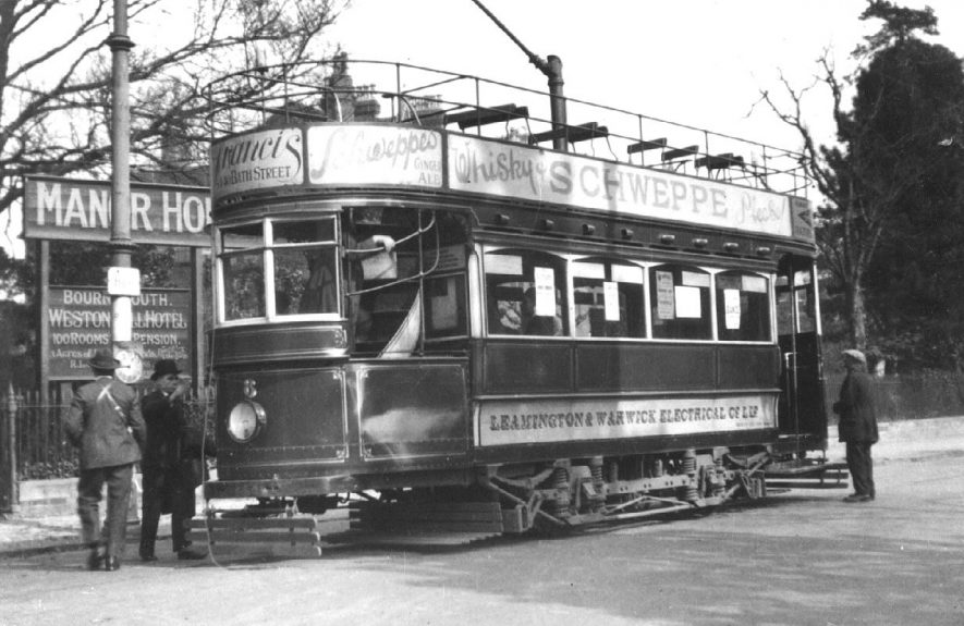 Tramcar standing at the terminus, Avenue Road.  1930s |  IMAGE LOCATION: (Warwickshire County Record Office)