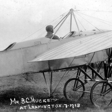 Leamington Spa.  Mr. B.C. Hucks in Bleriot flying machine