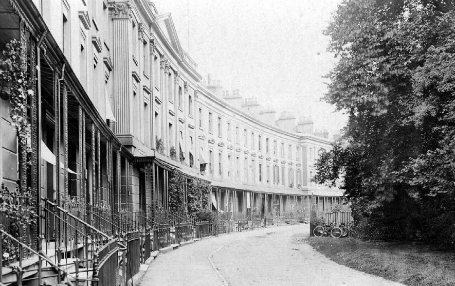 Terrace of large town houses with ornate iron railings to frontages.  1900s |  IMAGE LOCATION: (Warwickshire County Record Office)