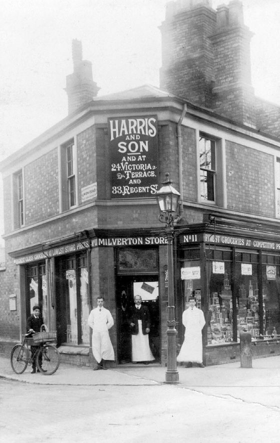 Harris and Son's grocery shop on the corner of Rugby Road and Union Road.  1920 |  IMAGE LOCATION: (Warwickshire County Record Office) PEOPLE IN PHOTO: Poole, James, Poole as a surname
