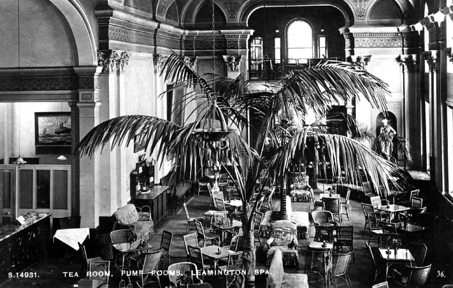 Interior view of the tea room at the Pump Rooms, Lower Parade, Leamington Spa.  1930s |  IMAGE LOCATION: (Warwickshire County Record Office)