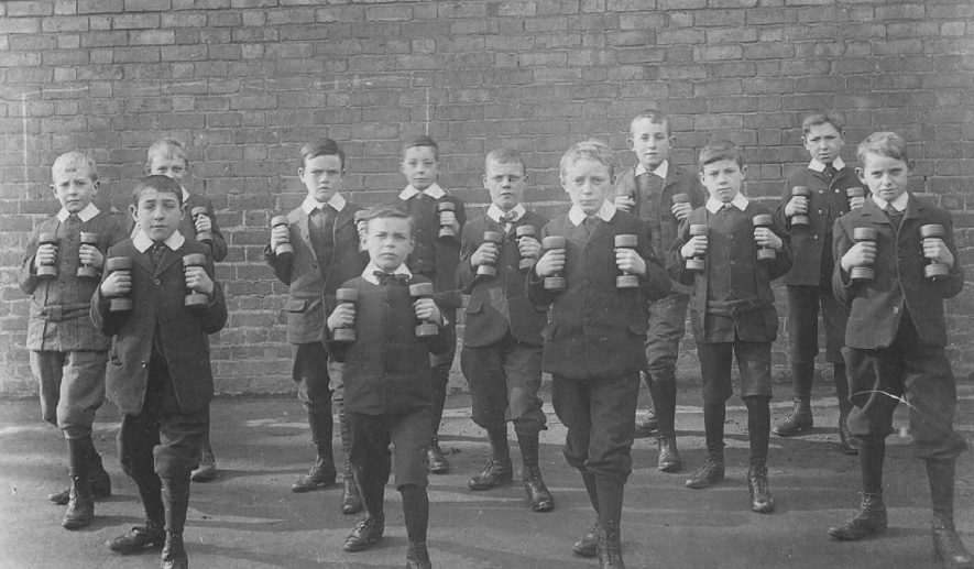 The National School, Bath Place, Leamington Spa. School boys exercising with dumbbells.  1903 |  IMAGE LOCATION: (Warwickshire County Record Office)