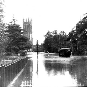 Leamington Spa.  Lower Parade under flood
