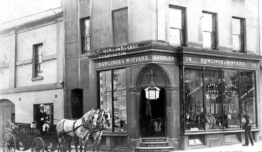 Rawlings and Winyard, Saddlers, Clarendon Avenue. Shop frontage with carriage and pair standing outside.  1900s |  IMAGE LOCATION: (Warwickshire County Record Office)