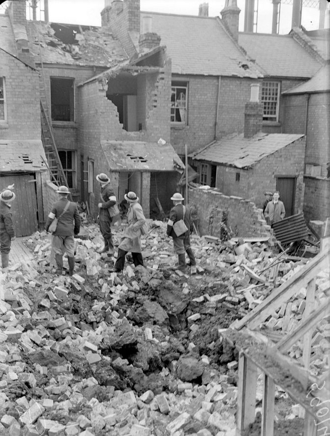 Bomb damaged houses in Ranelagh Terrace, Leamington Spa.  20 October 1940 |  IMAGE LOCATION: (Warwickshire County Record Office)
