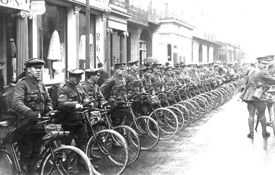 Gloucester Cycle Regiment lined up with their bicycles in The Parade.  1914-18 |  IMAGE LOCATION: (Warwickshire County Record Office)
